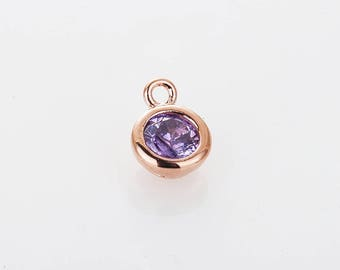 3mm CZ- Amethyst February Birthstone Charm, 3mm CZ  Birthstone Necklace, Personalized Jewelry, Polished Rose Gold-plated -1pc [P0368-PRGAM]