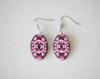 Oval earrings purple and pink pattern kaleidoscope