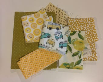 Designer Fabric Scrap Bag-yellow