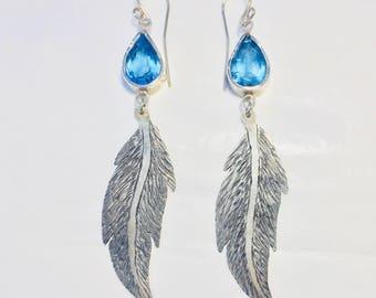 Blue Topaz Boho Chic Style Sterling .925 Silver Earrings