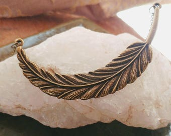 "Feather Pendant // Antique Bronze 18"" Chain // Lobster Clasp //"
