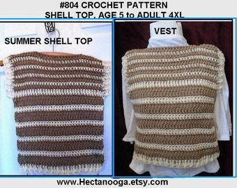 CROCHET SWEATER PATTERN, Shell Top, Summer Tank Top, children and women's clothing, Sleeveless Vest, Summer crochet, #804