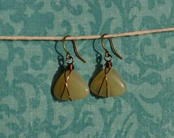 Honey Opal stone earring
