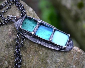 THREE BLUES, bohemian jewelry, statement necklace, blue necklace pendant, fall necklace, long necklace, romance