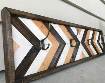 Wood Coat Rack - Rustic Coat Rack - Modern Coat Rack - Geometric Coat Rack - Wood Wall Art - Geometric Coat Rack - Wood Wall Decor
