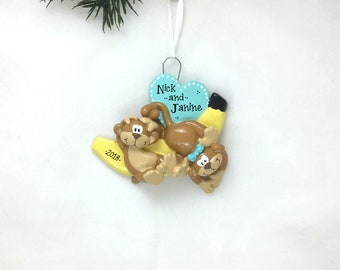 2 Monkeys Personalized Christmas Ornament / Couple Gift / Sibling Gift / Baby Ornament