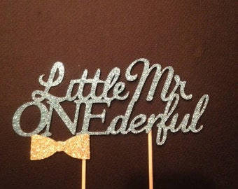 Little Mr ONEderful Cake Topper in sparkling glitter!  First Birthday Cake Topper.  Offered in several sizes and colors!