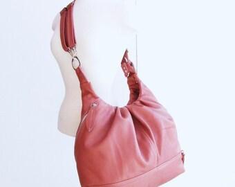 Pink Leather Pack Bag, 3 Way Convertible Bag, transformable Backpack, women leather messenger, Shoulder Bag