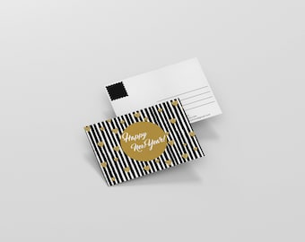 Happy New Year - Gold and Black Post Card - 4x6 Print Ready