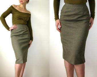Ted Lapidus Boutique Haute Couture Paris Pure Wool Green Gray High Waist Skirt