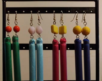 Boho style pendant earrings, with silk tassels of different colors.
