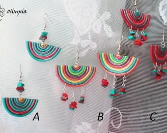 summer geometric earrings fun beach jewelry Artistic multicolor funky earrings Shabby chic large earrings polymer clay