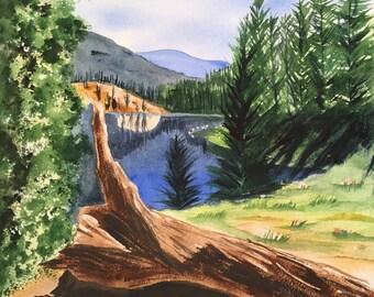 Colorado Art, Mountain Lake Painting, Landscape Painting, Pine Tree Art, Original Watercolor Painting, Steamboat Springs, western decor