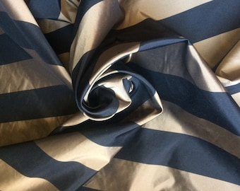 Tan + Black Stripe Silk Taffeta