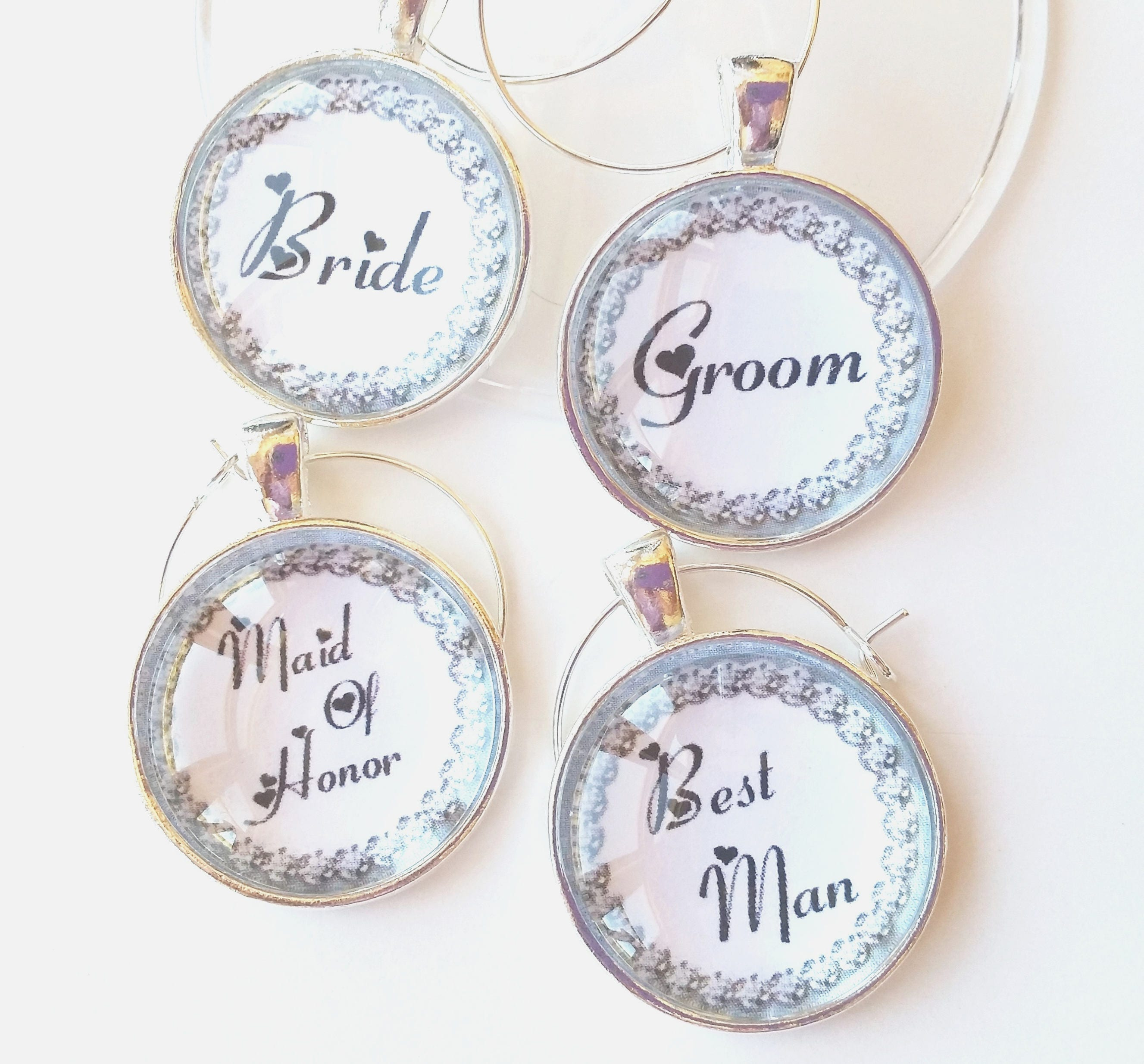 Wedding Party Wine Glass Charms Wedding Party Favors