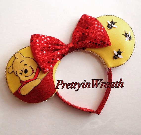 Winnie The Pooh Inspired Mickey Mouse Ears Headband