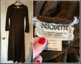 Vintage 1970s Briquette Brown and Gold Maxi Dress - Size 6