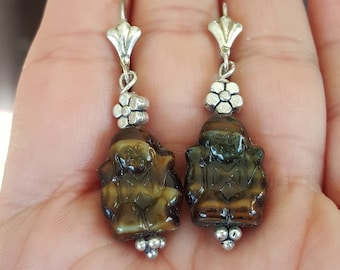 Carved Compassion Love Buddha Tiger Eye  Hand Carved Dangle Drop Sterling Silver Lever Back Earrings Yoga Meditation Buddhism
