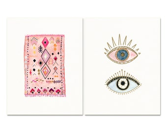 Pink Watercolor Print Set. Vintage Rug Art Print. Evil Eye Contemporary Art. Boho Home Decor. Minimalist Art Prints.