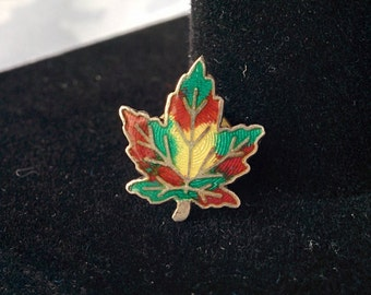 Sterling Silver Maple Leaf Pin, Enamel and Sterling Maple Leaf Pin, Maple Leaf Pin, Maple Leaf