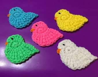 Crocheted Chicks XLg, Set of 5, Easter Chick Appliqué, Easter Chicks, Crochet Easter Chick
