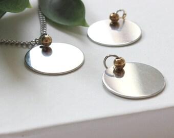 Unique Disc Necklace, Simplistic Necklace, Minimalist Necklace, Stainless Steel Necklace, Shiny Necklace, Circular Pendant, Circle Necklace,