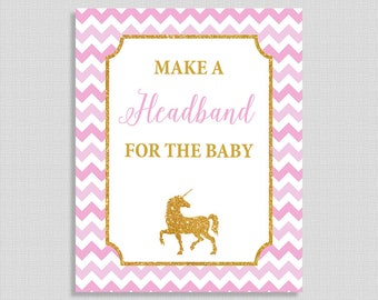 Make a Headband for the Baby Shower Sign, Unicorn Pink & Gold Glitter Baby Shower Table Sign, INSTANT PRINTABLE