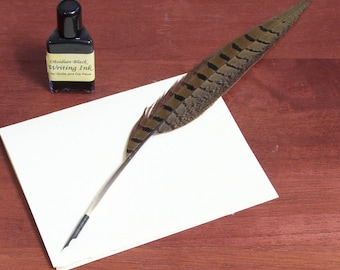 Pheasant Feather Quill Pen with Pointed Steel Nib, Calligraphy Dip Pen