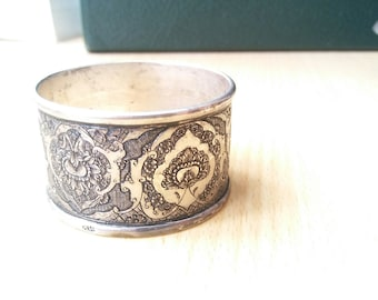 Antique Hand Engraved Persian Silver Circle