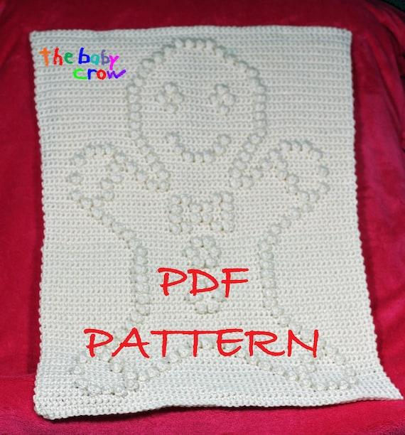 Crochet Pattern Gingerbread Man - Crochet Baby Security Blanket  - Gingerbread Man Blanket Pattern - Car Seat or Stroller Blanket