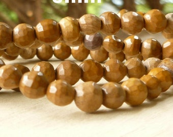 6mm Faceted Tigerskin Jasper - Tigerskin Jasper Beads - Faceted Beads - Gemstone Beads - Mala Beads - Wrap Bracelet Beads - 6mm Brown Beads