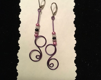 Purple Looping Wire Dangle Earrings Hand Crafted with Accent Beads and Hypoallergenic Hinged Clasps