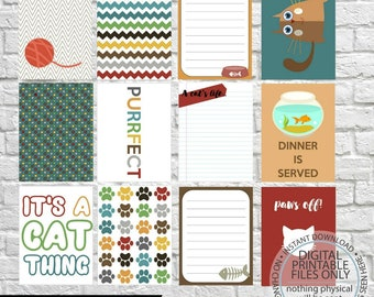 Cat Journaling Cards, Project Life Inspired Printable, Simple Stories, Digital Scrapbooking, Pocket Scrapbooking, Planner Printable