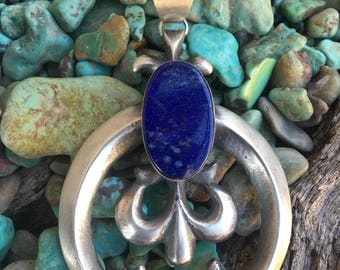 Chimney Butte Lapis & Sterling Silver Naja Pendant Signed