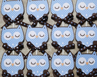 Owl cupcake toppers - brown and blue polka dot- Quantity 12