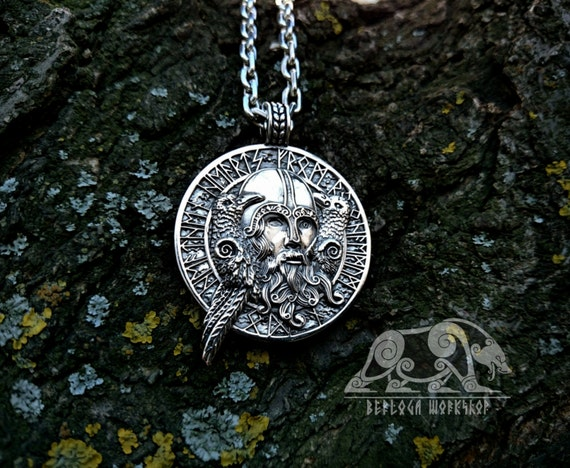 Odin with ravens viking pendant sterling silver viking amulet aloadofball Gallery