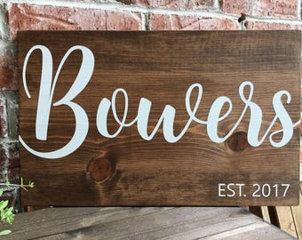 Last name sign, Last name established sign, Wood last name sign, family name sign, last name est sign, name wood sign, wedding gift,