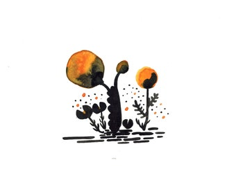 Original Abstract Floral Painting in Black and Orange