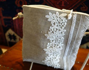 Linen lace and sashiko case