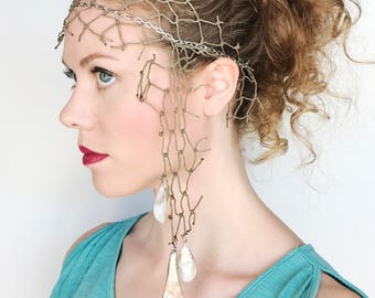 Mermaid Headdress with Shells and Netting