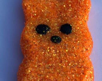 Easter Peep Glitter Polym Clay Orange Charm