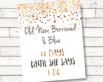 rose gold something old new borrowed blue sign,confetti bridal shower decor, rose gold confetti printable signs for bridal shower - br72