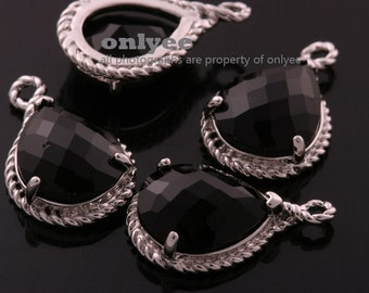 2pcs-19mmX12mmRhodium Faceted tear drop glass with rope rim pendants-Black(M316S-A)