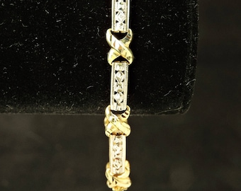 """10k Yellow And White Gold X's And Bars Laser Cut Bracelet 7"""""""