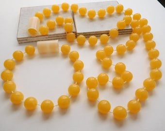 Retro Vintage Butterscotch Yellow Chunky Fixed Bead Necklace & Bracelet Set W5