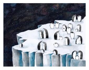 Penguin Galaxy Art Print | Wall Art | Children's Illustration | Kid's Room Decor