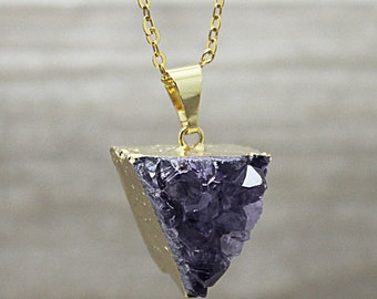 Lovely Amethyst Druzzy Triangle Pendant Necklace with Electroplated 24k Gold edging -- (SD85_08)
