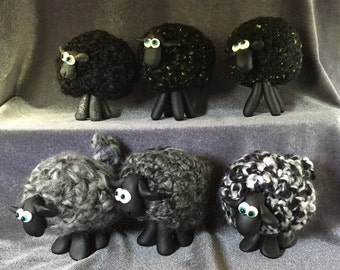 Whimsical BLACK Sheep ornaments.  Assorted shades, your choice of one.
