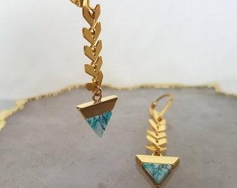 Sale Triangle Drop Earrings - Gold Geometric Earrings, Long Earrings, Triangle Earrings, Dangle Earrings, Tiny Triangle, Gold Earrings