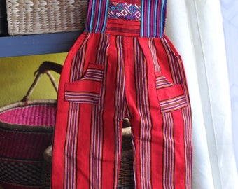 Handloomed Authenic Guatemalan Children's Romper with Huipil detail, adjustable straps and pockets